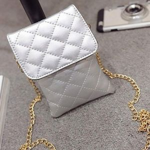 Handbags - Silver Leather quilted mini crossbody bag purse